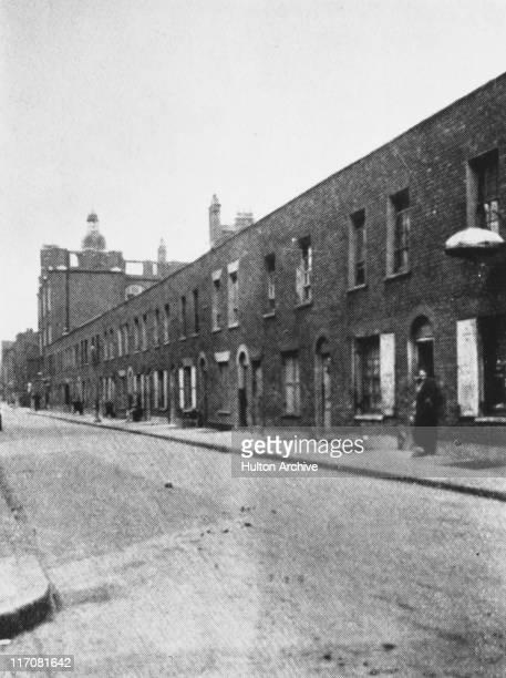 Slum dwellings in Berner Street in Whitechapel east London seen from Ellen Street It was near here that Elizabeth Stride was murdered by serial...