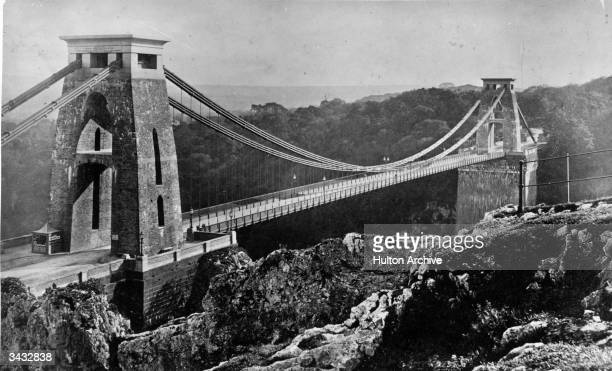 The Clifton Suspension Bridge spanning the Avon Gorge Bristol designed by Isambard Kingdom Brunel but not completed until after his death in 1864