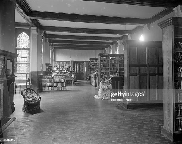 The new library at Girton College Cambridge University The college founded in 1869 was the first for female undergraduates