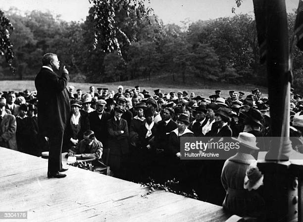 Theodore Roosevelt American statesman and President addressing a suffragette rally from the verandah of his home