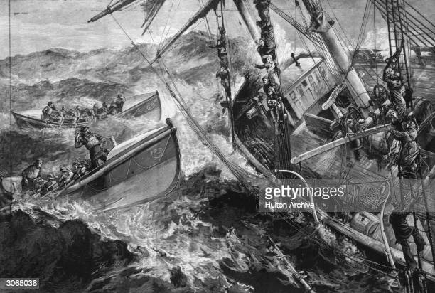 Two lifeboats come to the aid of a stricken vessel while the terrified travellers cling to the rigging