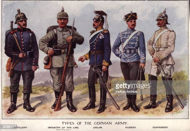 Uniforms of the German army. Left to right: Artillery; Infantry of the Line; Uhlan; Hussar; Cuirassier.
