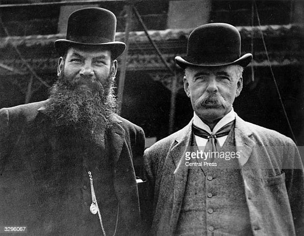 William Gilbert Grace, English cricketer and physician, with C W Alcock, editor of 'Cricket' .