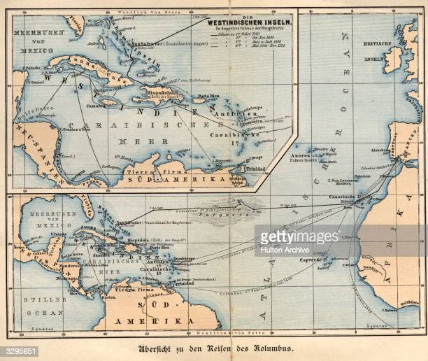 A German map tracing the voyages of Christopher Columbus to the West Indies and the Caribbean Sea