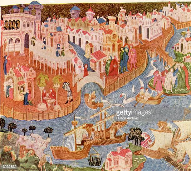 A print from a 14th century miniature showing the Polos leaving the Piazzetta in Venice for their travels to the Far East The image is at the...