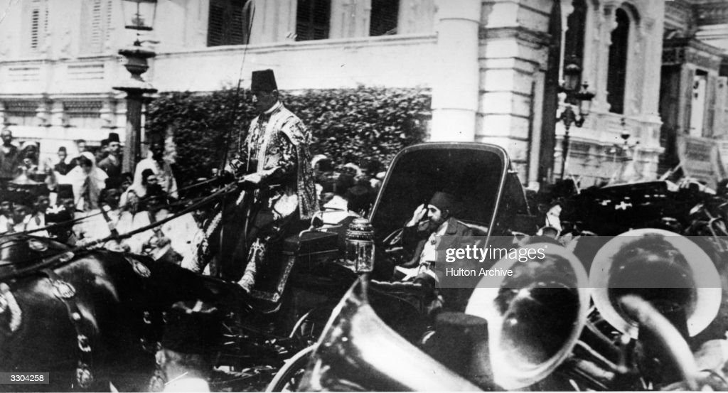 Abdul Hamid II the Sultan of Turkey (1842 - 1918) in his horse-drawn carriage in Constantinople (Istanbul) to the strains of the brass band in the foreground.