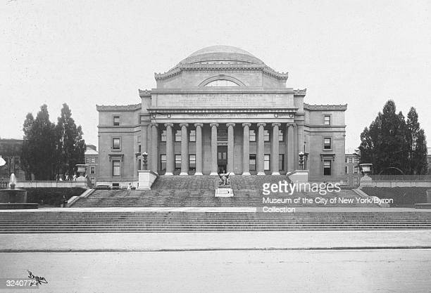 An exterior view of the front of the library at Columbia University, New York City, designed by Charles McKim in 1897. The domed building is fronted...