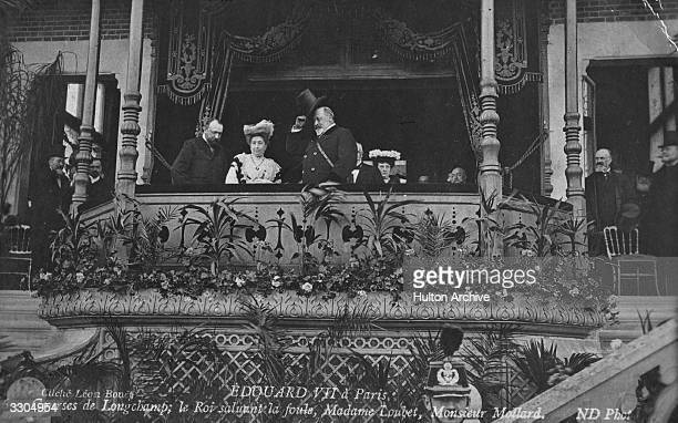 King Edward VII who ascended the British throne in 1901 greets the crowd at Longchamp race course Paris