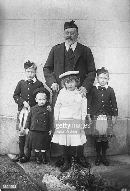 King Edward VII who ascended the British throne in 1901 at Mar Lodge with his four grandchildren From left the Duke of Windsor King Edward VIII...