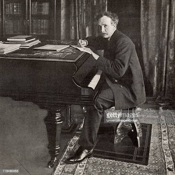 Richard Strauss German composer and conductor, born at Munich. Photograph of Strauss working at the piano published in 1902 when he conducted the...