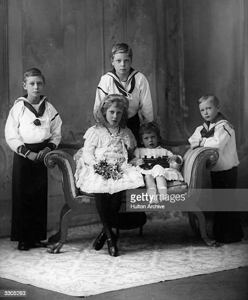 Five of the children of King George V and Queen Mary. From left, King George VI, , then Prince Albert, the Duke of Windsor, , then Prince Edward, and...