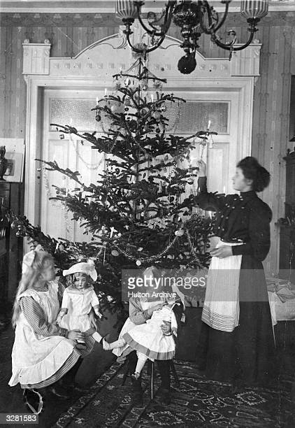 A Christmas tree in an Edwardian parlour