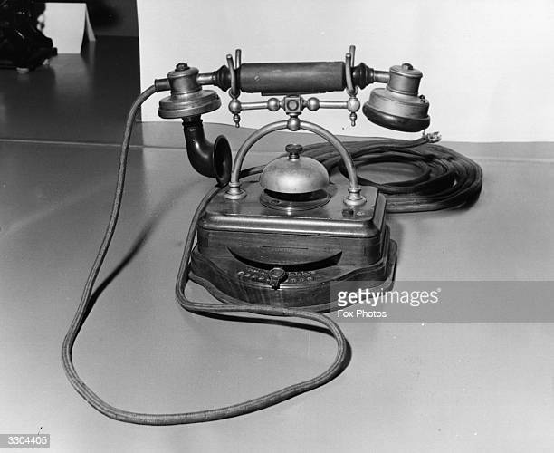 A view of a desk telephone capable of contacting ten extensions as used around 1905