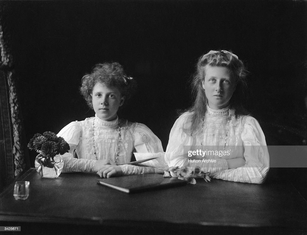 Alexandra Victoria (1891 - 1959), later the Duchess of Fife, and Princess Arthur of Connaught, with her younger sister Maud.