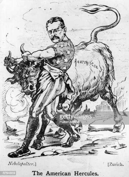 American President Theodore Roosevelt in a cartoon depicting him as 'The American Hercules' subduing the wild bull of anarchy