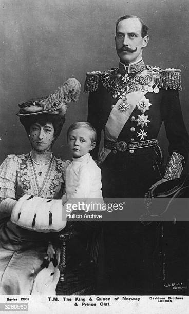 Haakon VII King of Norway from 1905 son of Frederik VIII Succeeded by his son Olav V Seen here with his wife Maud daughter of Edward VII and son Olav...