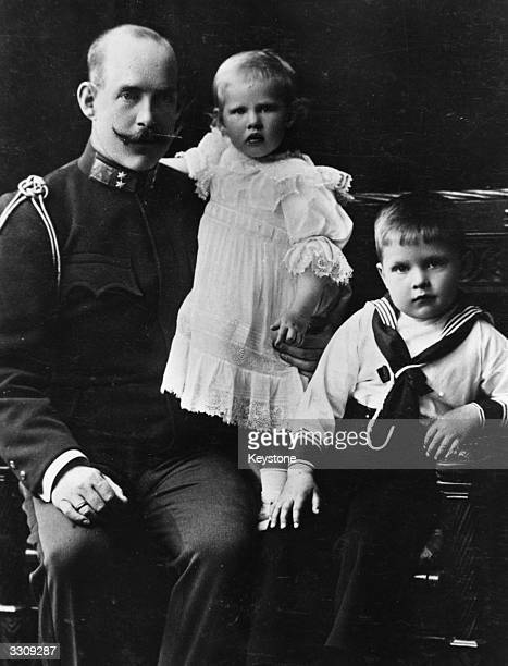 King Constantine I with his children Prince Paul and Princess Irene.