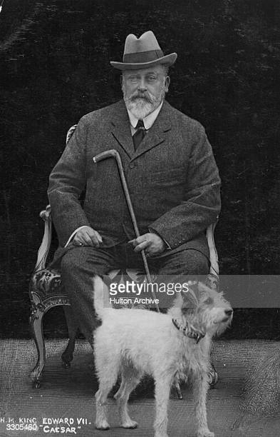 King Edward VII, , who ascended the British throne in 1901, with his favorite dog Caesar.