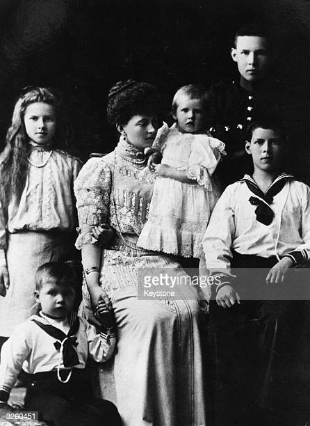 Queen Sophie of Greece, wife of Constantine I with her children: Princess Helen, Prince Paul, Princess Irene, Prince George and Prince Alexander.