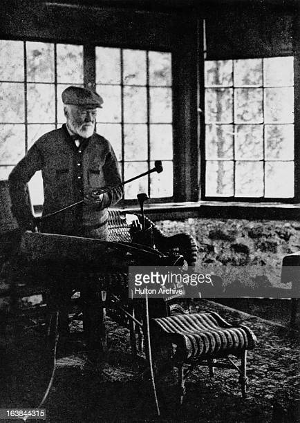 ScottishAmerican industrialist Andrew Carnegie at golf cottage near St Andrew's Golf Club Hastings OnHudson New York