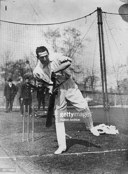 The English sportsman Charles Burgess Fry, , considered by some to be the best all-round British athlete, at the practice nets. Although he...