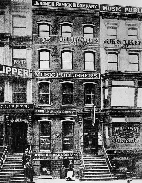 View of buildings along 'Tin Pan Alley', the center...