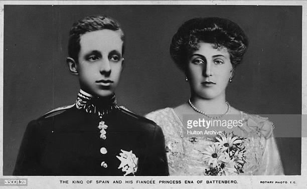 King Alfonso XIII of Spain king from 1886 to 1931 with his wife Queen Victoria Eugenie of Spain as Princess Victoria Eugenie of Battenberg