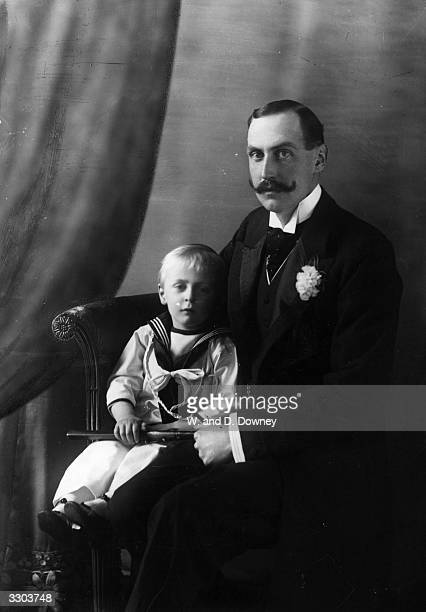 King Haakon VII king of Norway from 1905 who in 1896 married Princess Maud of Britain He is with their son Crown Prince Olav later King Olav V