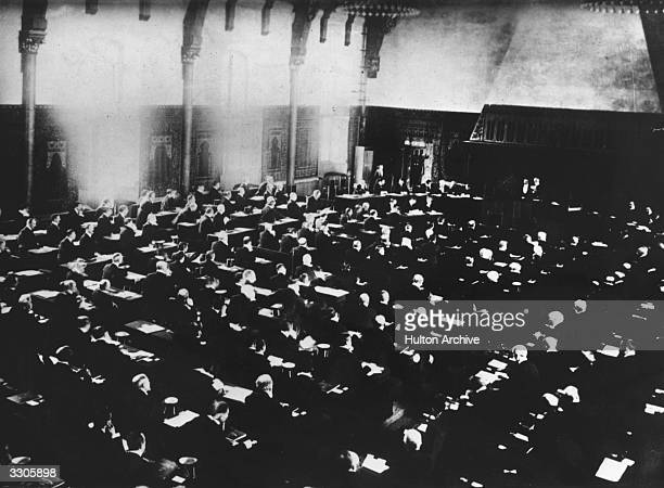 The inaugural session of the Anti-War Conference in the Riddersaal, at the Hague.