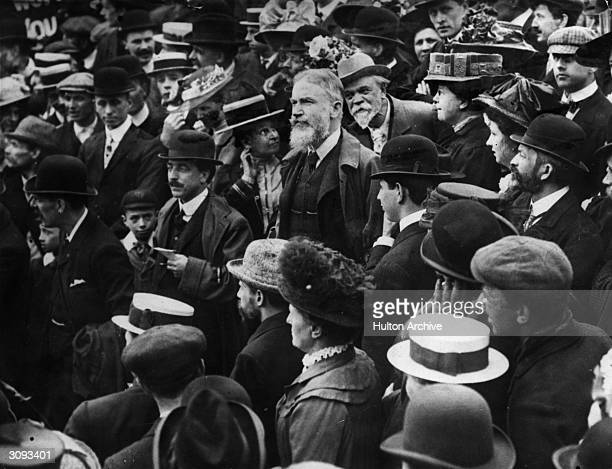 Irish playwright and social critic George Bernard Shaw speaking at a protest meeting against the visit of the czar
