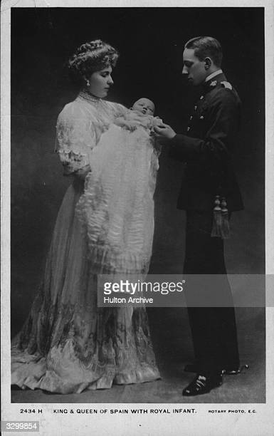 Queen Victoria Eugenie of Spain with her husband King Alfonso XIII of Spain with their newlyborn child