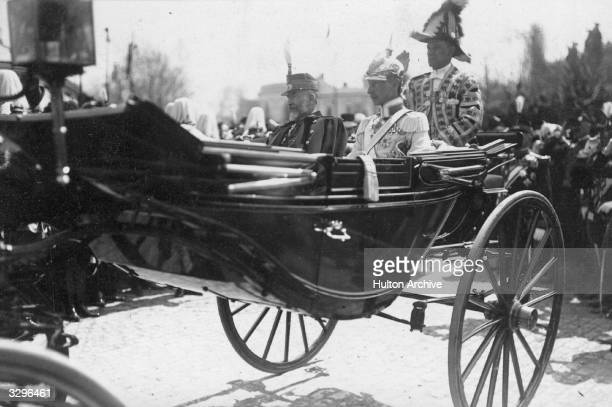 Carol I King of Romania with Wilhelm Crown Prince of Germany the eldest son of Kaiser Wilhelm II on King Carol's 70th birthday