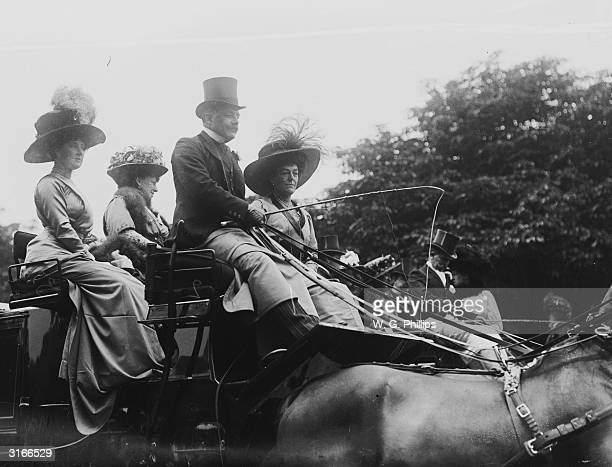 Edwardian ladies and gentlemen arrive at a society event in a horse-drawn carriage.