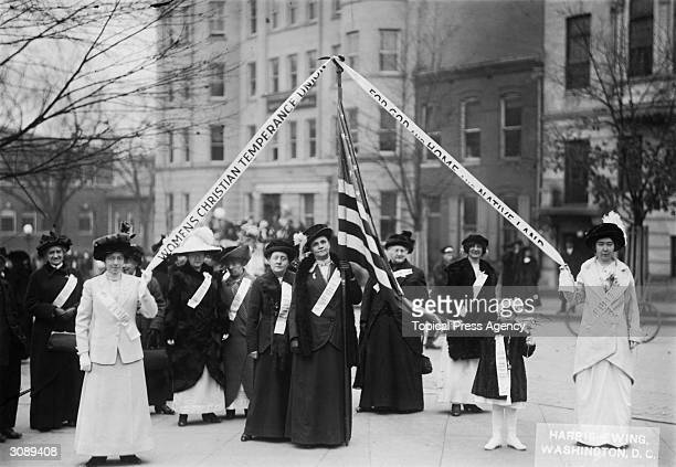 Members of the Women's Christian Temperance Union who marched on Washington DC to present a petition supporting prohibition