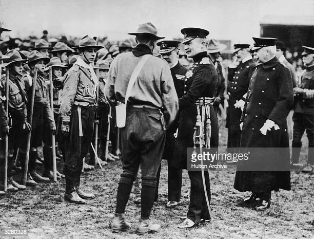 Robert Baden Powell founder of the Boy Scout movement at a rally of Boy Scouts at Chatham