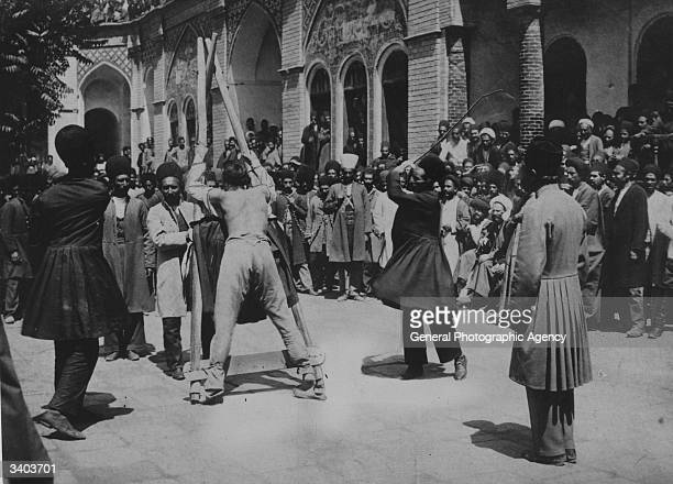 A criminal is publicly whipped in the street in Persia
