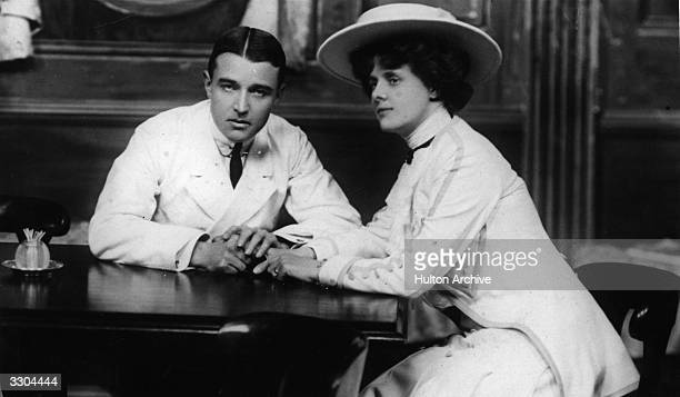 A E Matthews as The Duke of Tadcaster and Muriel Beaumont as Sybil Annesley in a scene from the play 'The Early Worm'