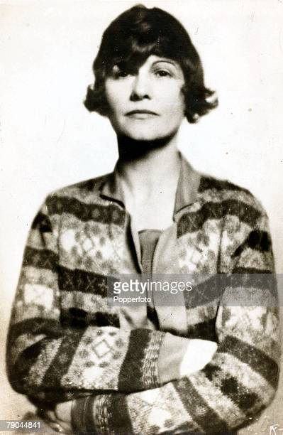 Circa 1910 A portrait French designer Coco Chanel who was the proprietress of the famous dressmaking firm