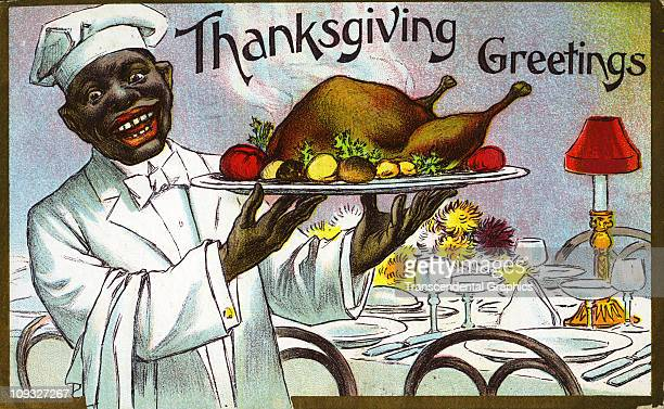 UNKNOWN circa 1910 A printed cartoon postcard for Thanksgiving features a characature/racist image of a black waiter
