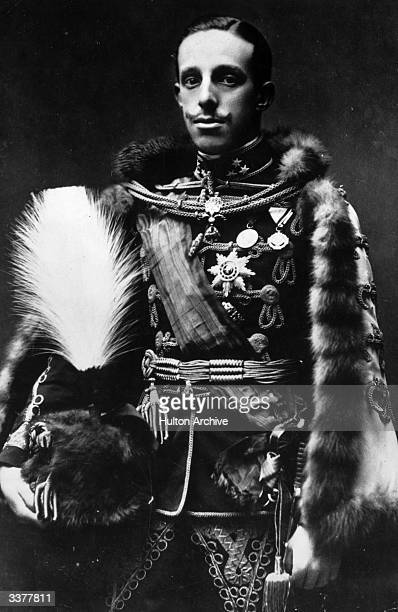 Alfonso XIII king of Spain from 1886 to 1931 wearing ceremonial uniform and carrying a plumed hat