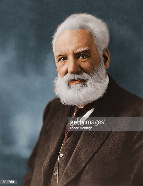 American educator and inventor Alexander Graham Bell who produced the first clear telephonic transmission of the human voice in 1875