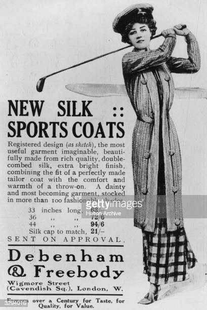 An advertisement for women's golfing fashions available from Debenham Freebody