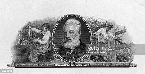 Bank Note Engraving Alexander Graham Bell Scottishborn American inventor and educator Opened school for training teachers of the deaf Boston 1872...