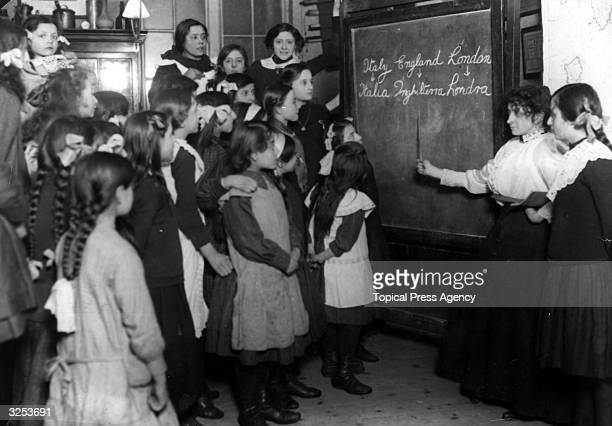 English lessons at a school for Italian children in Soho.