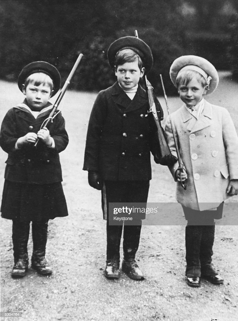 From left, Prince John (1905 - 1919), and Prince George (1902 - 1942), two of King George V's children, and their cousin Prince Olav (1903 - 1991), son of King Haakon VII of Norway and Queen Maud.