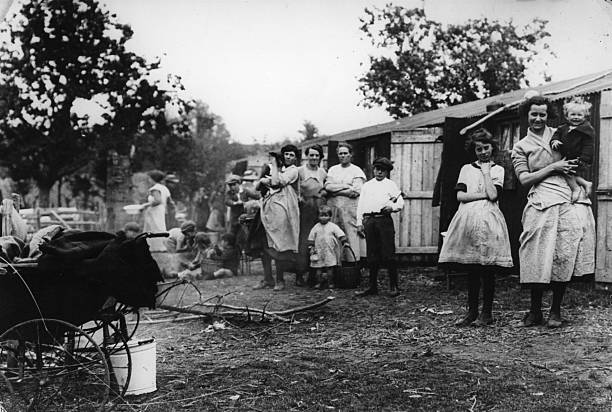 Hop pickers in a camp in the Kentish hop fields.
