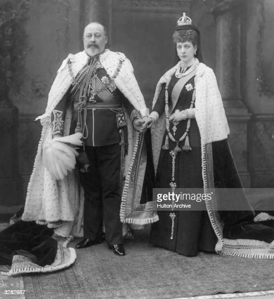 King Edward VII, , who ascended the British throne in 1901, with his queen-consort Queen Alexandra, , at the State Opening of Parliament in London.