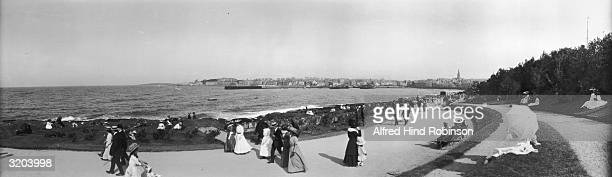 People taking the air on the seafront at Bangor in County Down