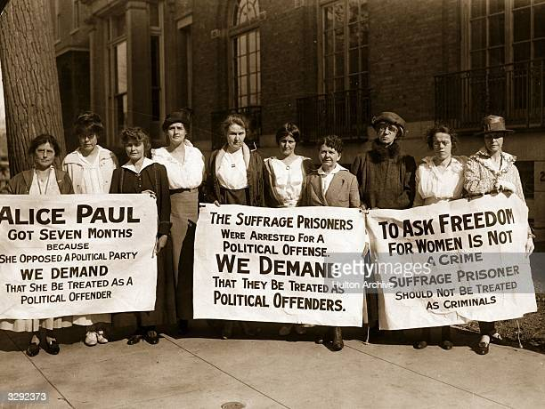 Suffragettes picket for the release of their colleagues after ten of their comrades are released from the workhouse after serving a sixty day...