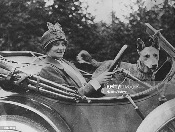 The aviator Baroness de Laroche driving her car. She was the first woman to receive a pilots licence in 1909, and was killed in an accident in July...